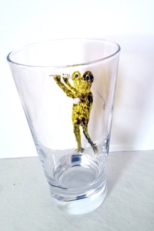 Frog playing golf glass painting inside view