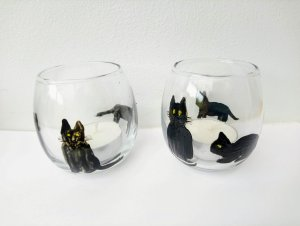 Black cat candle holders with tealights