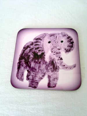 Elephant coaster with artwork by Annabel Potter