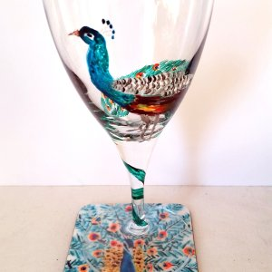 Peacock wine glass and coaster set
