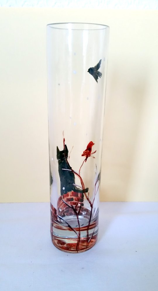 Black cat winter vase glass painting with two birds and a black cat