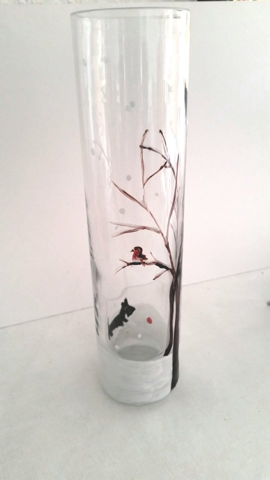 Wintervase hand painted with a robin ina tree and Scottie dog in snow
