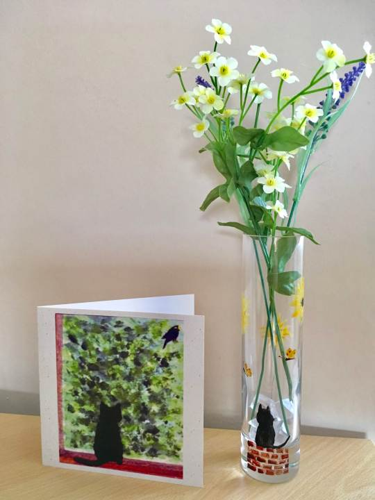 Cute black cat card with a cat vase glass painting