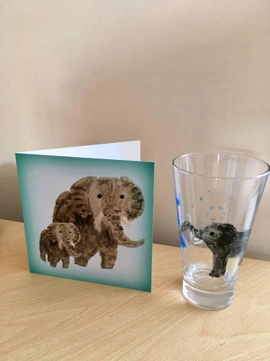 Greeting card with two elephants photographed with an elephant glass painting