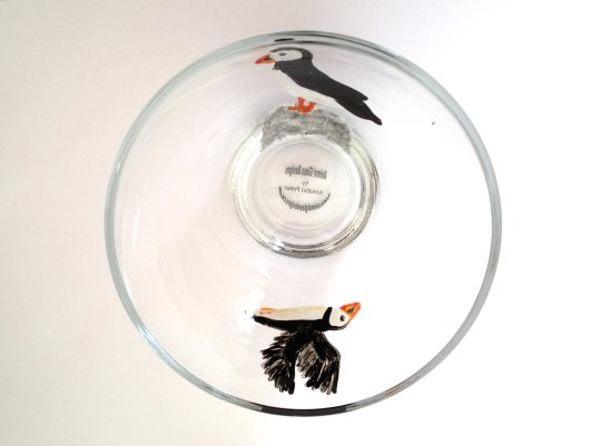 Puffin glass bowl inside view, photographed from above