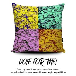 Cushion with an abstract foliage pattern in different colours