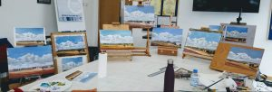 Final acrylic paintings created at a painting workshop
