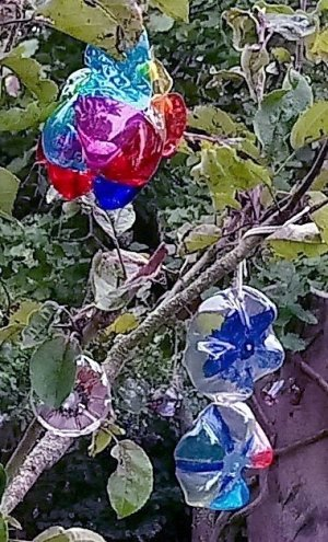 Plastic flower decorations, made from plastic bottles