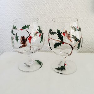 Two hand painted brandy glasses with Robins and holly