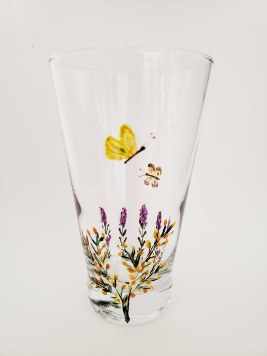 Hand painted glass with heather and gorse