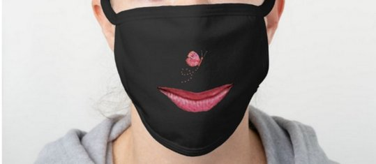 Designer face mask in black with lips and a butterfly nose