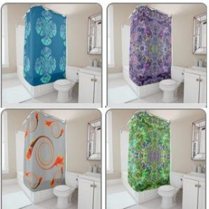 Patterned shower curtains with abstract designs