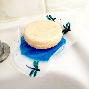 Soap dish with blue dragonflies. an original waterproof glass painting