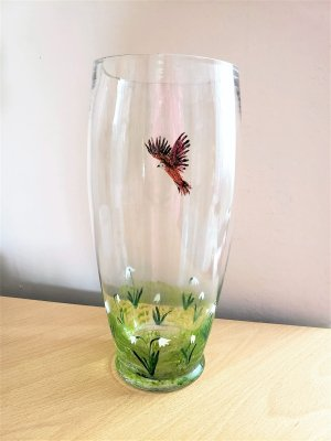 Hand painted floral glass vase with snowdrops and a bird
