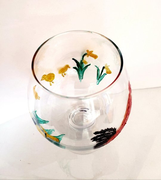 Inside view of Spring wine glass original painting