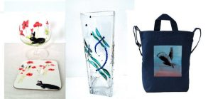 Three product photos of a poppy glass painting and coaster set, a dragonfly vase, owl bag
