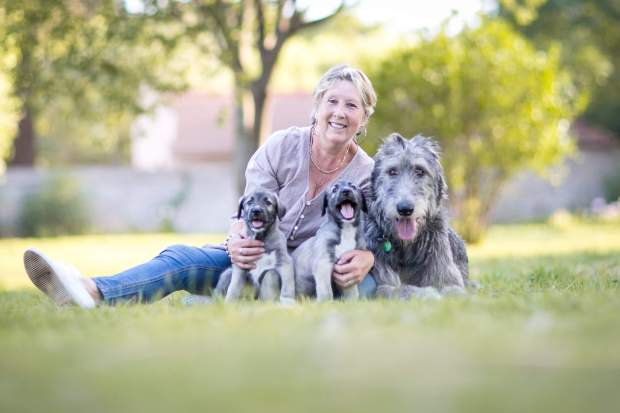 Dawn Barnard with her special Irish Wolfhounds