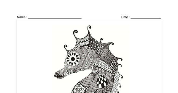 Seahorse 1 – Zentangle Colouring Page