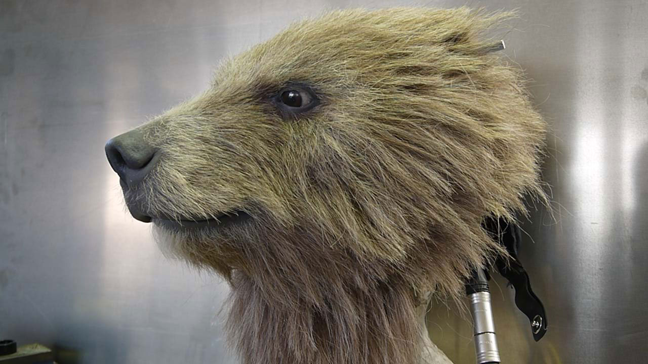 Animatronic Baby Brown Bear close view of hair or fur