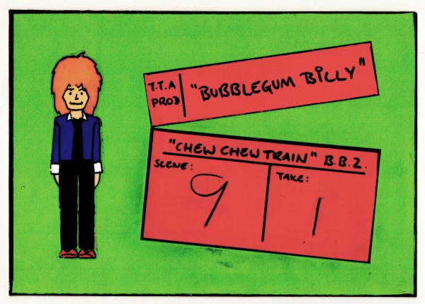 The clapperboard I used between shots for Bubblegum Billy.
