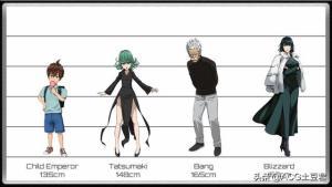 一拳超人:角色身高對照表,龍卷不足一米五,蚊女標準大長腿。
