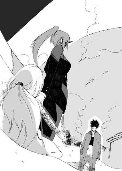 Shion protecting the children