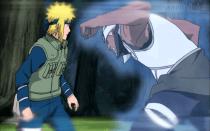 A Raikage attacks Minato.