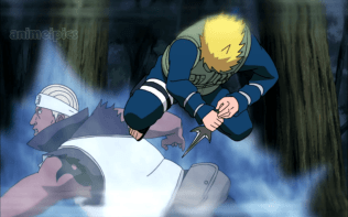 Minato attacking with Kunai