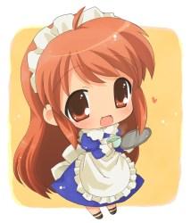 anime chibi waitress kawaii chibis cat smile hair manga does adorable characters looks little