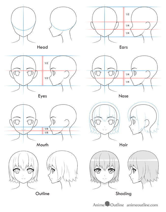 Anime Drawing Template : anime, drawing, template, Anime, Girl's, AnimeOutline