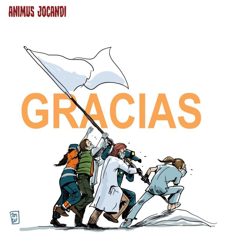 Sanitarios levantando bandera contra el coronavirus
