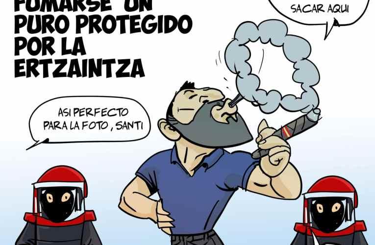 Un gilipollas se va a Sestao a fumarse un puro protegido por la Ertzaintza – Curso titulares honestos.