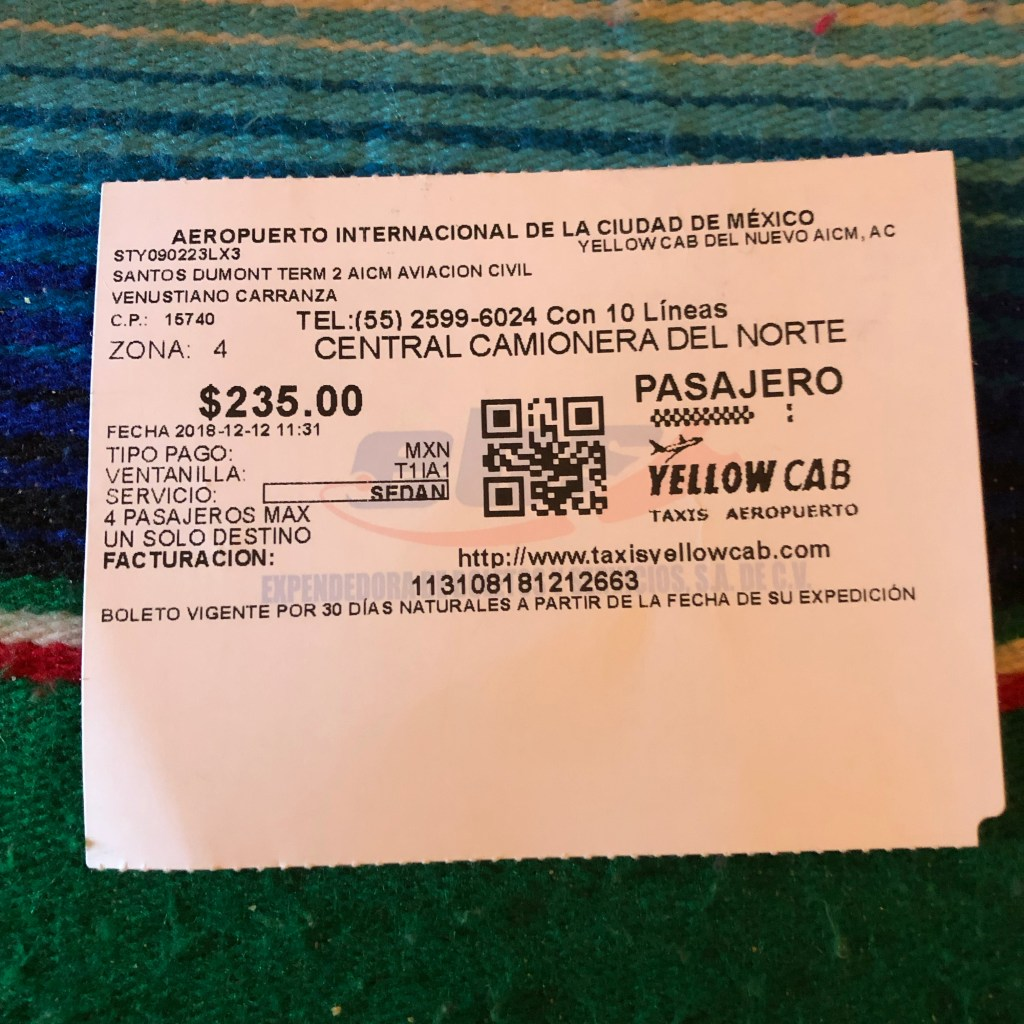 Receipt for Yellow Cab in Mexico City.
