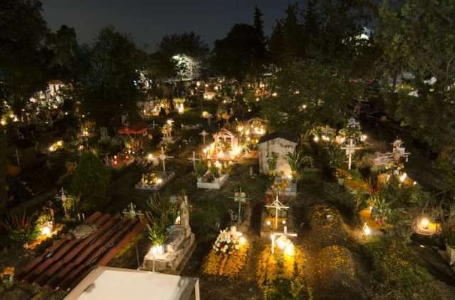 Graves during a Day of the Dead celebration in Mexico