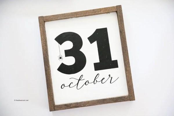 DIY October 31st Farmhouse Frame Sign