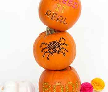 Halloween DIY: Cross-Stitch Pumpkins