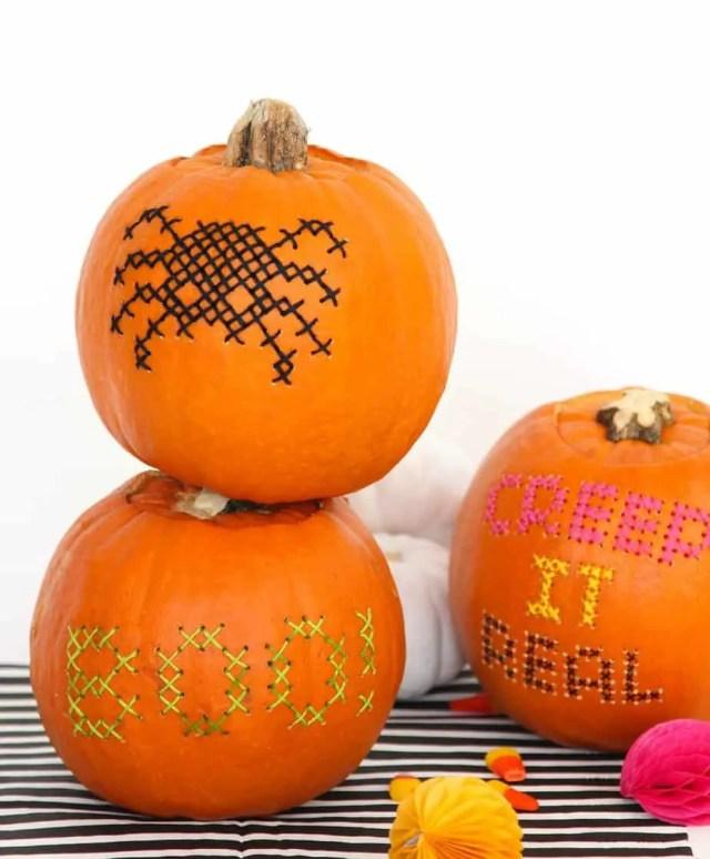 Halloween DIY: Cross Stitch Pumpkins