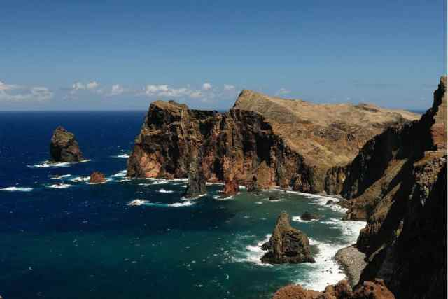 rocky coastline of Madeira, an island 90 minutes from Lisbon in Portugal