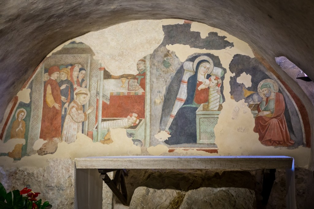 Painting Image above oldest church - paint of nativity