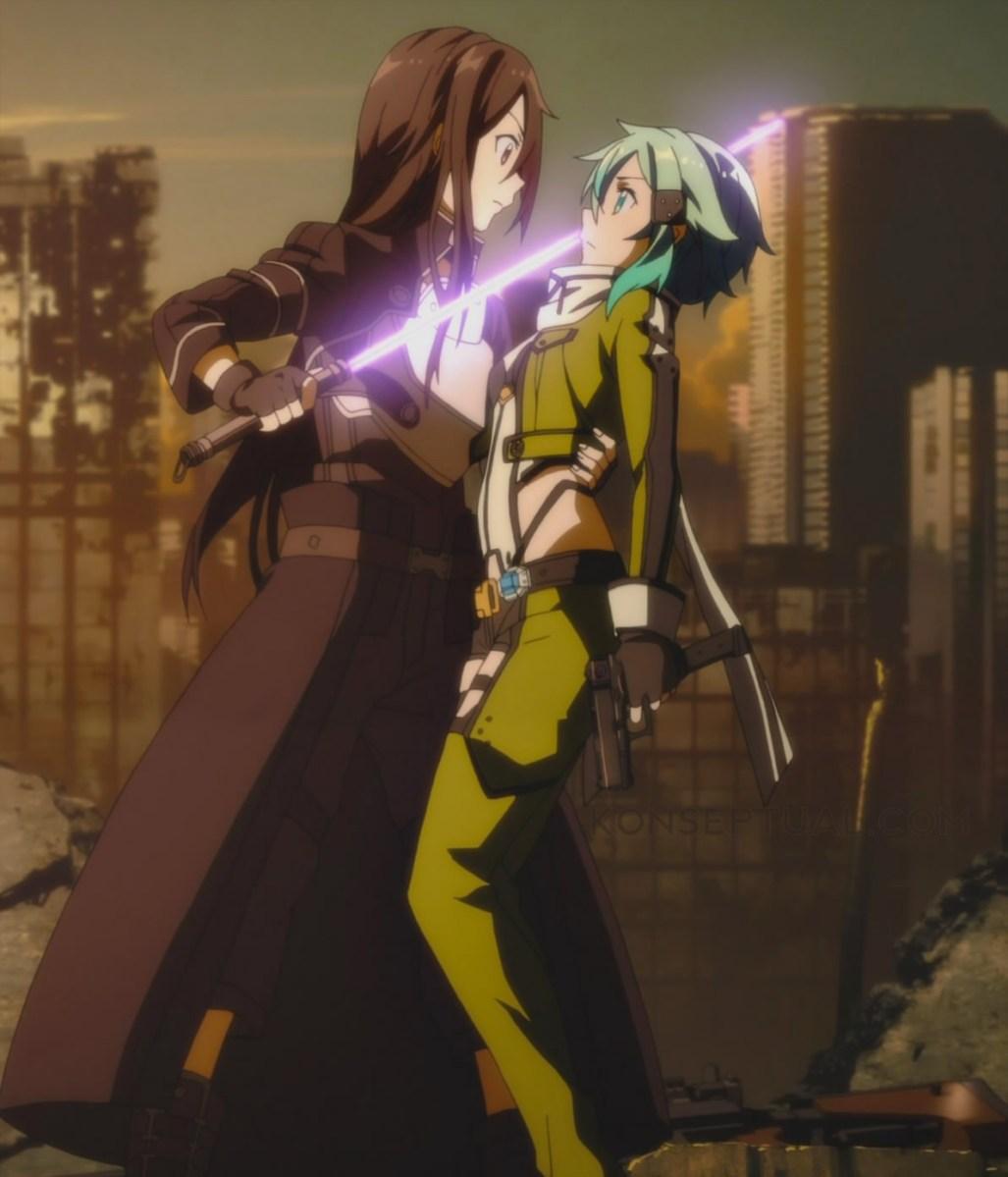 Sword art online ii episode 06 kirito embraces hugs sinon lovingly