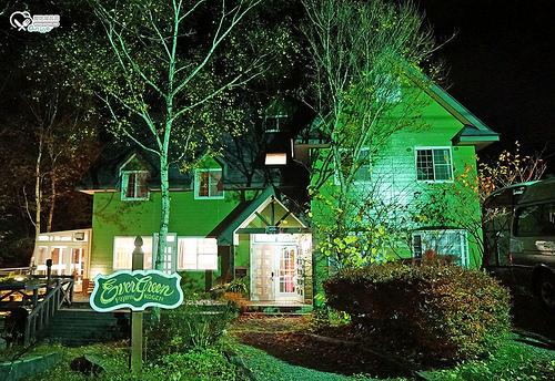 長野住宿.富士見町Ever Green民宿,山林裡的可愛小木屋
