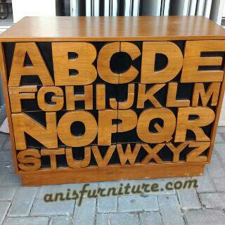 lemari laci alfabet untuk anak