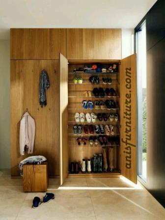lemari sepatu jati natural