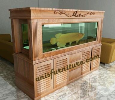 bufet aquarium kayu