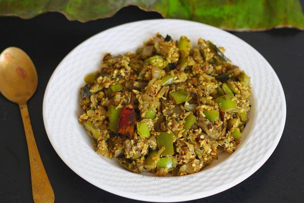 Kerala vazhuthana thoran - vazhuthanaga thoran - brinjal thoran - baingan - egg plant - recipe