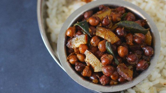 Kadala ularthiyathu - Kerala Kadala ularthu - kadala - mezhukkupuratti - black chickpeas stir fry recipe
