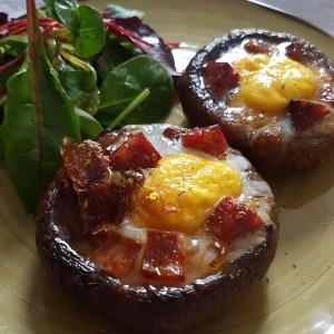 Baked Portobello Mushroom and Chorizo