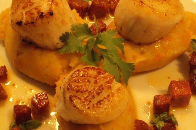 Sear Scallops and Braised Chorizo