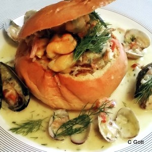Mussel and Clams in Brioche