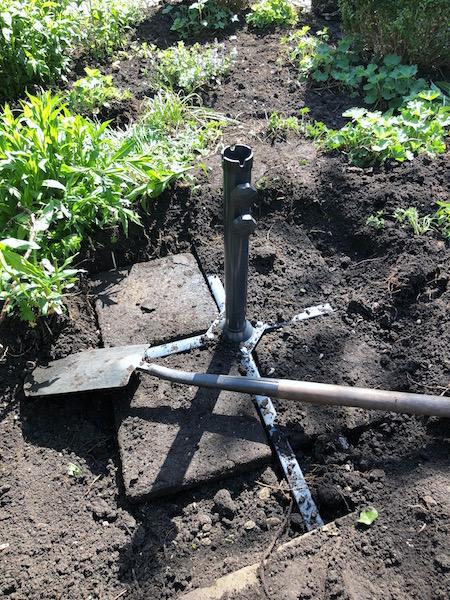 spitten in de tuin